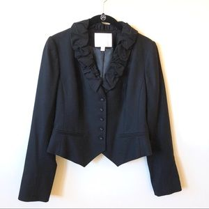 Rebecca Taylor Ruffle Collar Structured Blazer